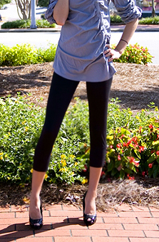 Black Rayon Spandex Leggings - Get The Look For Less