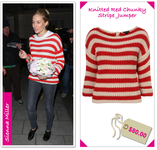 Sienna Miller Topshop Red & White Striped Sweater - The Look For Less