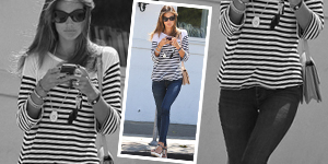 Alessandra Ambrosio&#8217;s Striped Boatneck Top &#038; Skinnys - Get The Celebrity Look For Less