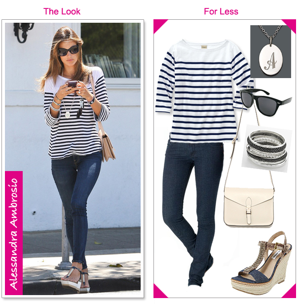 Alessandra Ambrosio Striped Boatneck Top - The Look For Less