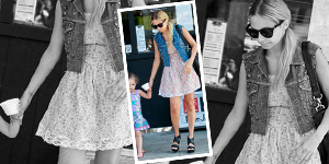 Nicole Richie's Floral Dress & Denim Vest - Get The Celebrity Look For Less