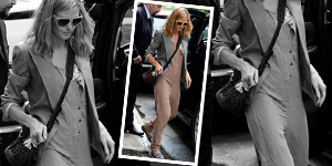 Heidi Klum&#8217;s Khaki Jumpsuit &#038; Neon Yellow Sunglasses - Get The Celebrity Look For Less