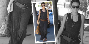 Olivia Wilde's Tank Dress and Fringe Crossbod