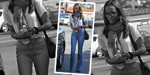Zoe Saldana&#8217;s High Waisted Jeans &#038; Fringe Scarf - Get The Celebrity Look For Less
