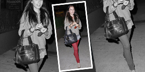 Lily Collins Red Skinny Jeans &#038; Gray Sweater - Get The Celebrity Look For Less