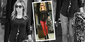 Ashley Tisdale&#8217;s Red Skinny Jeans &amp; Print Jackets - Get The Celebrity Look For Less