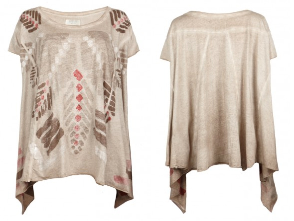 All Saints Tan Tribal Top Tee