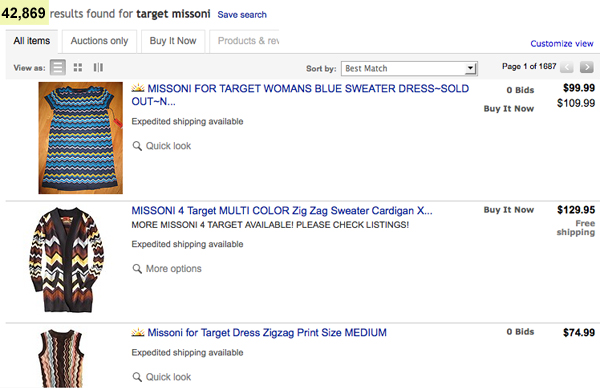 Missoni For Target Sold Out Ebay Fail