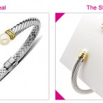 Steal the Real – Two Tone Pearl Bangle Bracelet